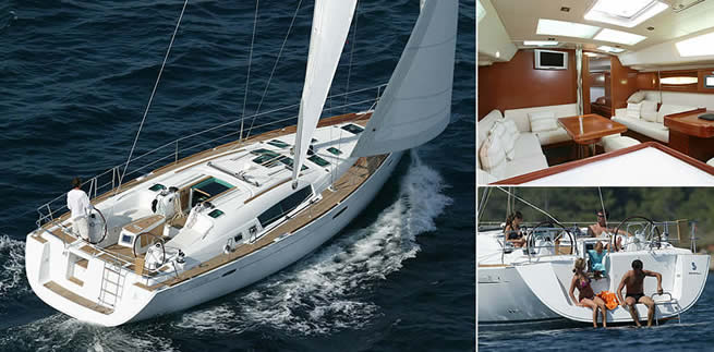 Beneteau Océanis 46 sailing images with interior