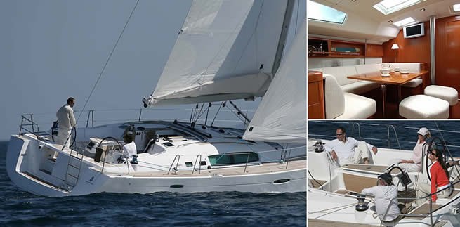 Beneteau Océanis 50 sailing images with interior