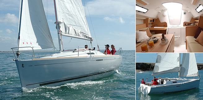 Beneteau First 25.7 S sailing images with interior