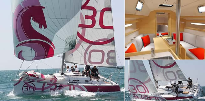 Beneteau First 30 sailing images with interior