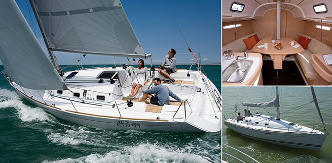 Beneteau First 31.7 sailing images with interior